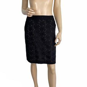 Ann Taylor Loft Black Eyelet Lace Pencil Skirt 8